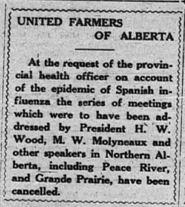 December 12, 1918 issue of The Camrose Canadian, http://augustana.centuryamerica.org/wp-content/uploads/2015/03/UFA-meetings-cancelled-Flu.jpg
